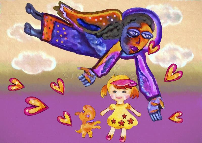 Meisje en beschermengel stock illustratie