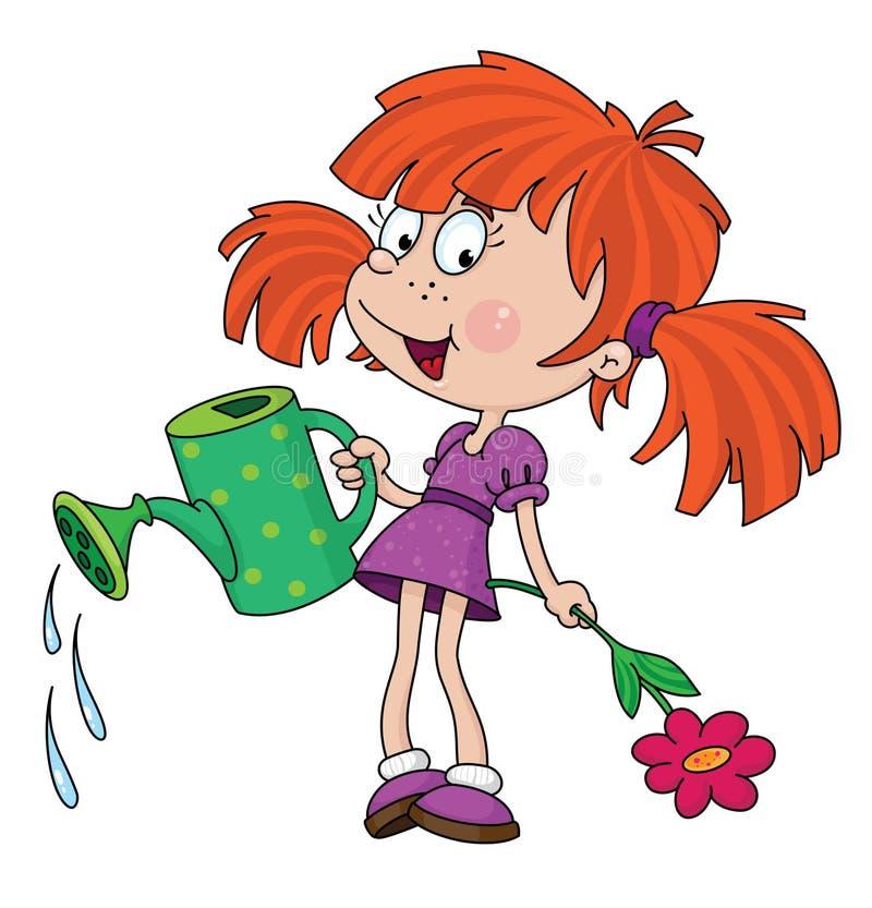 Meisje en bloem stock illustratie