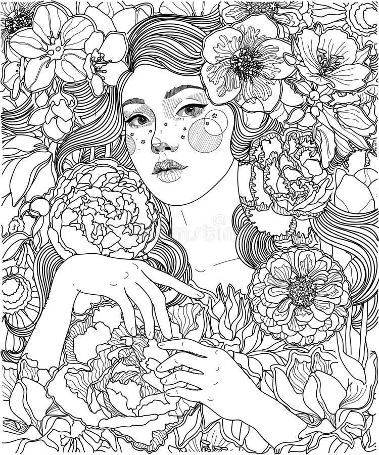 Meisje en bloemen, oranment en patroon vector illustratie