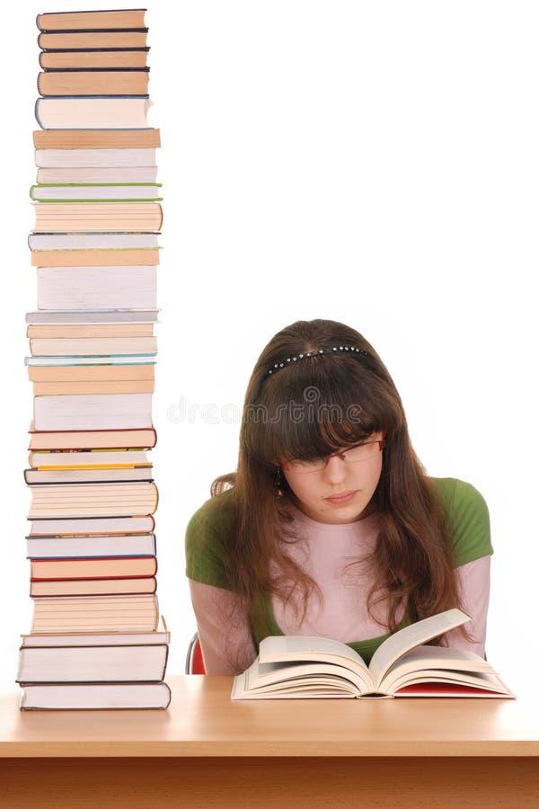 Meisje en Boeken stock afbeelding