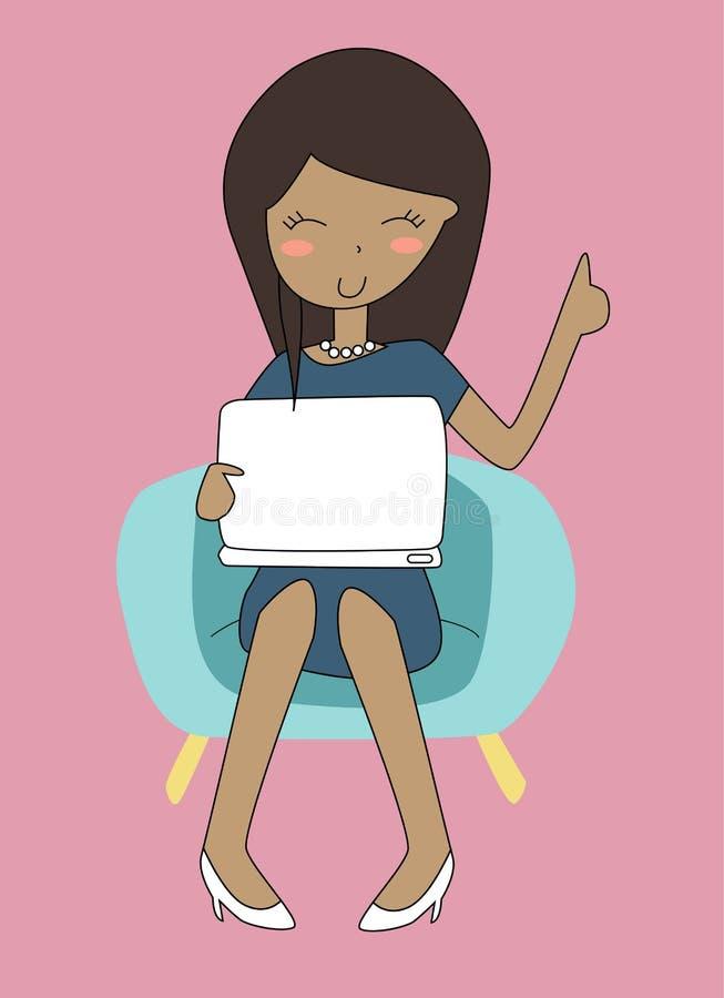 Meisje en computer vector illustratie