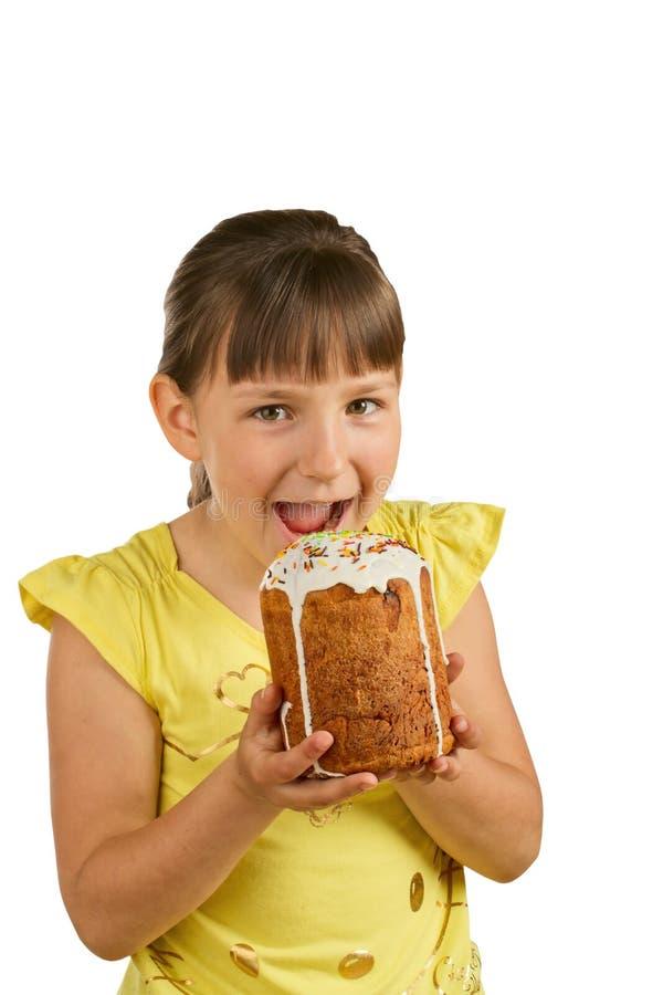 Meisje en de pastei van Pasen royalty-vrije stock afbeeldingen
