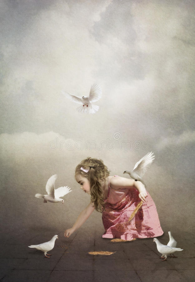 Meisje en duiven stock illustratie