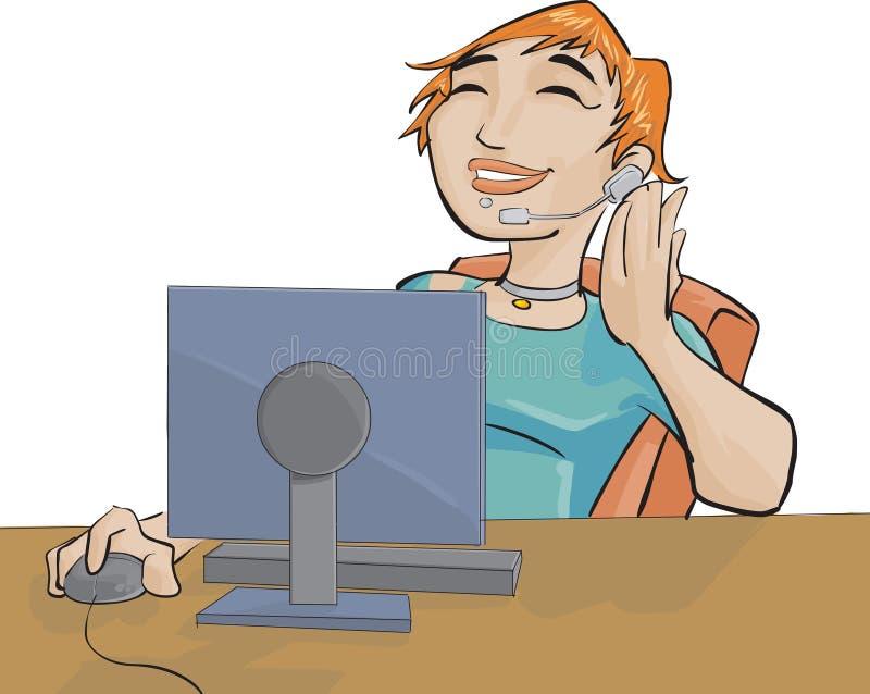 Meisje en een computer royalty-vrije illustratie