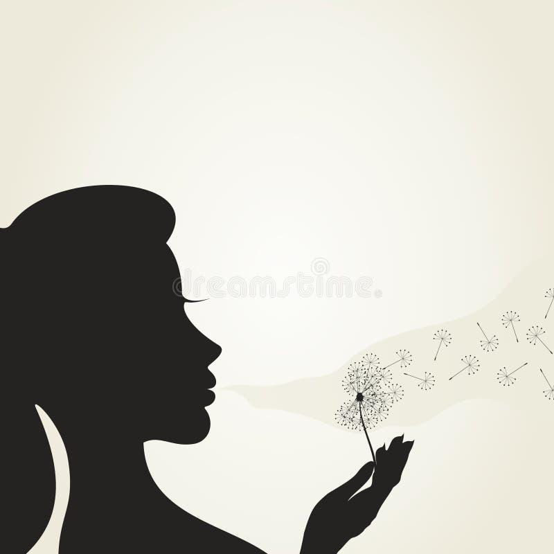 Meisje en een dandelion2 royalty-vrije illustratie