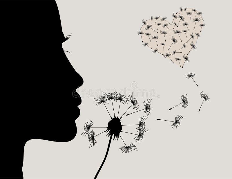 Meisje en een dandelion2 vector illustratie