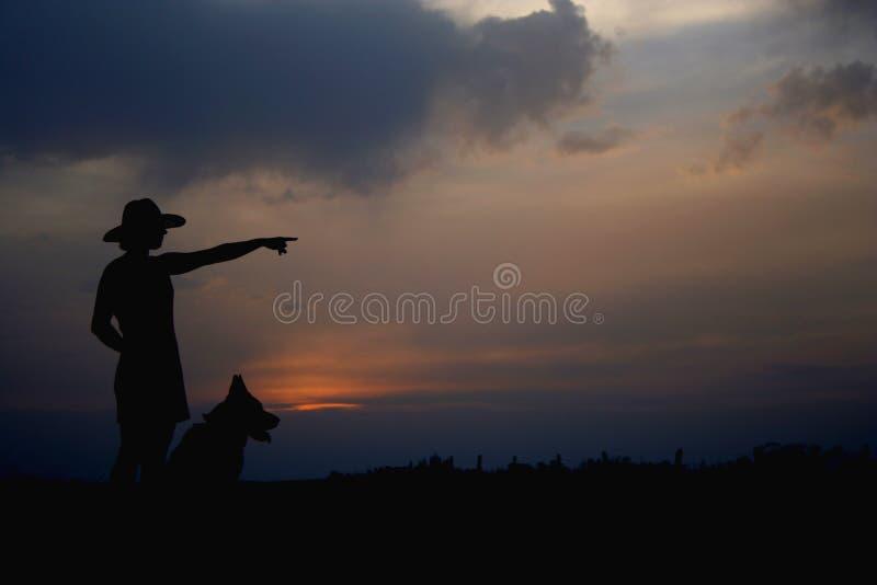 Meisje en een hond stock afbeeldingen