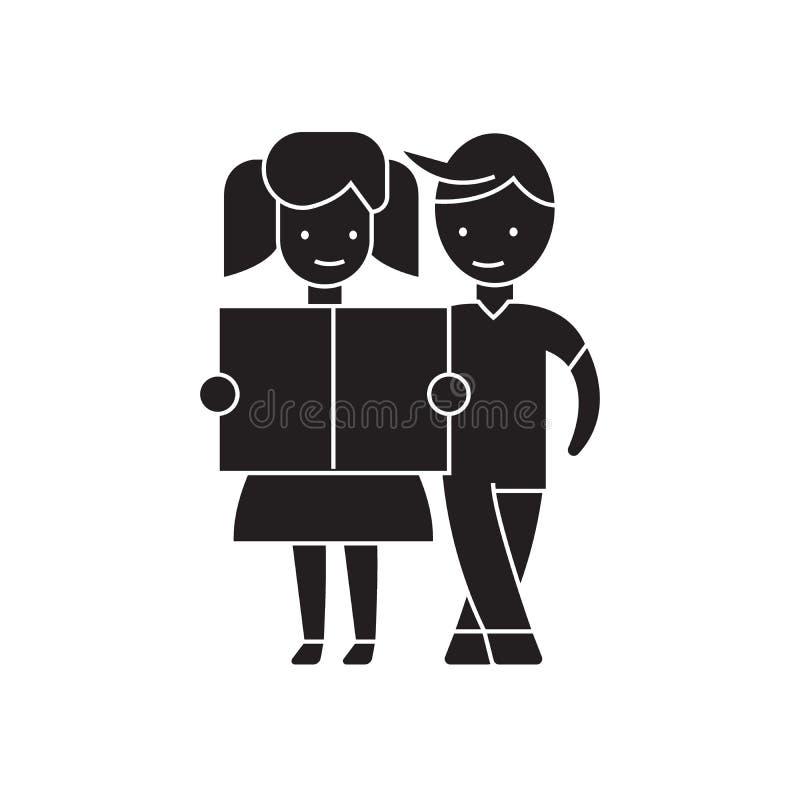 Meisje en een jongen die zwart vectorconceptenpictogram lezen Meisje en een jongen die vlakke illustratie, teken lezen stock illustratie
