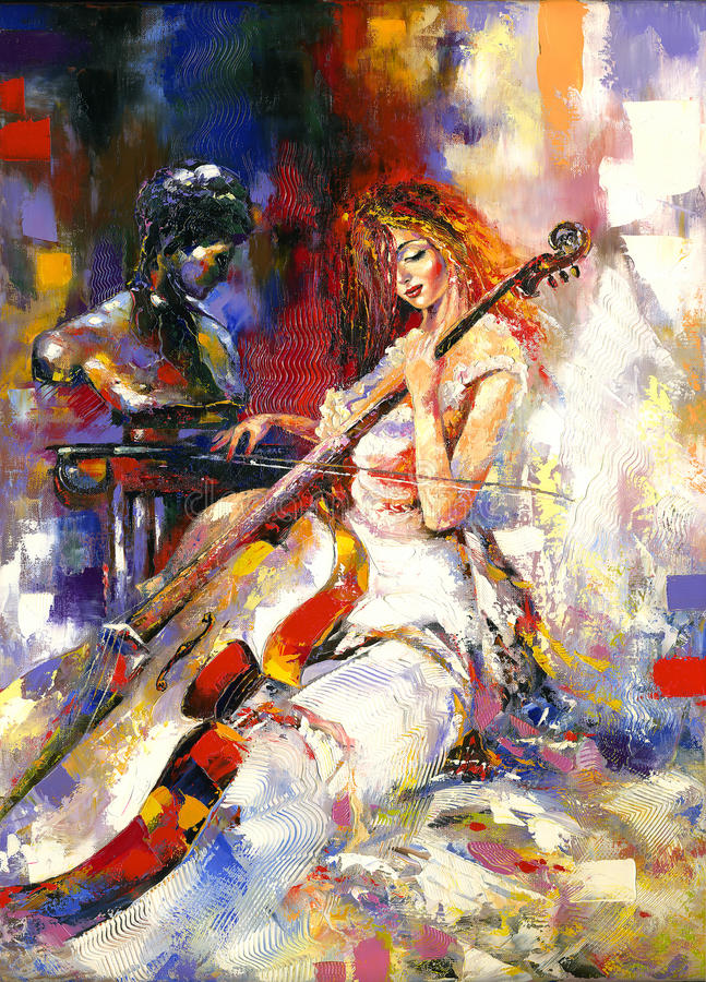 Meisje en een violoncel royalty-vrije illustratie