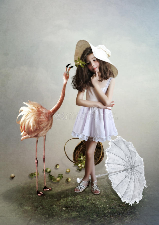 Meisje en flamingo stock illustratie