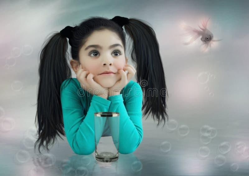 Meisje en goudvis stock afbeeldingen