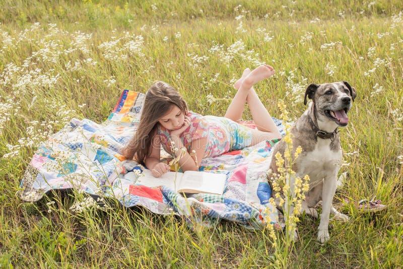 Meisje en grote hond royalty-vrije stock afbeeldingen
