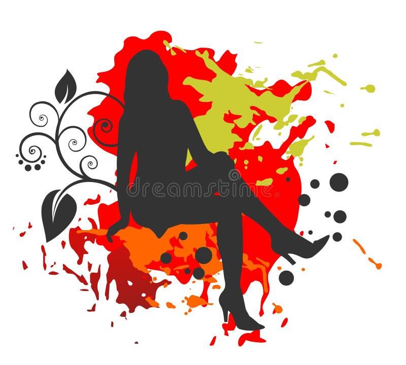 Meisje en grunge patroon royalty-vrije illustratie