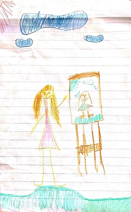 Meisje en haar het trekken op het tekenbord royalty-vrije illustratie