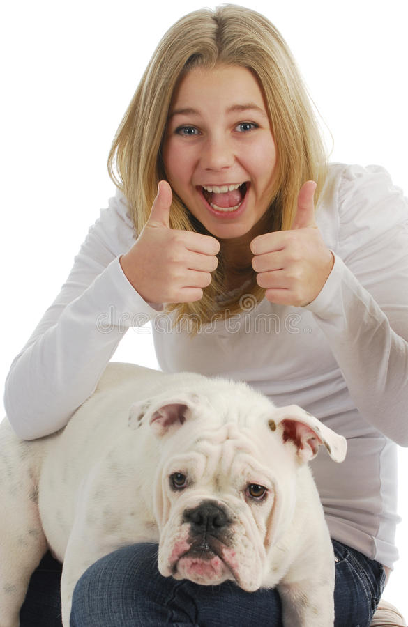 Meisje en haar hond royalty-vrije stock foto's