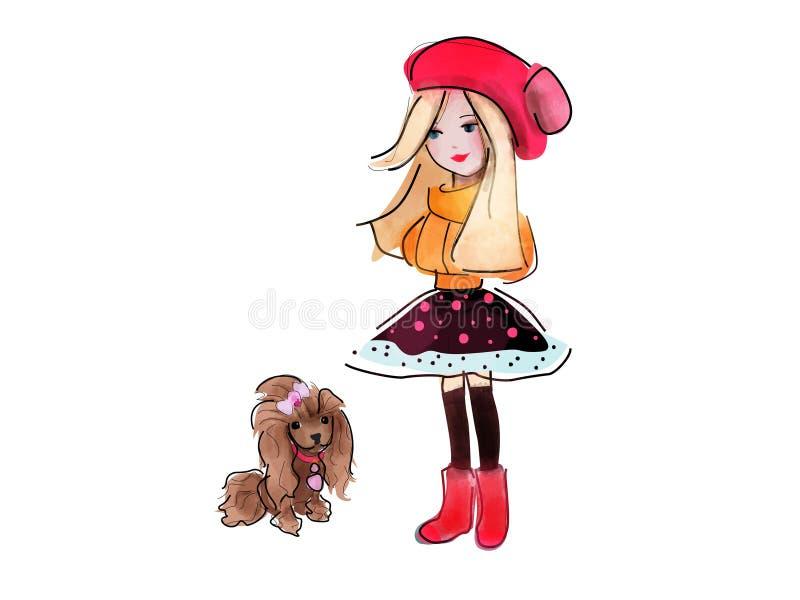 Meisje en haar hond royalty-vrije illustratie