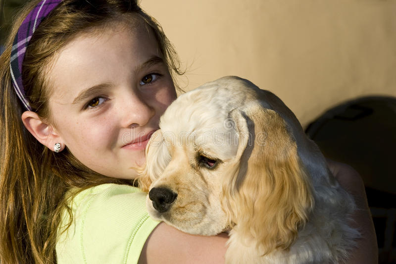 Meisje en haar Hond II royalty-vrije stock foto's