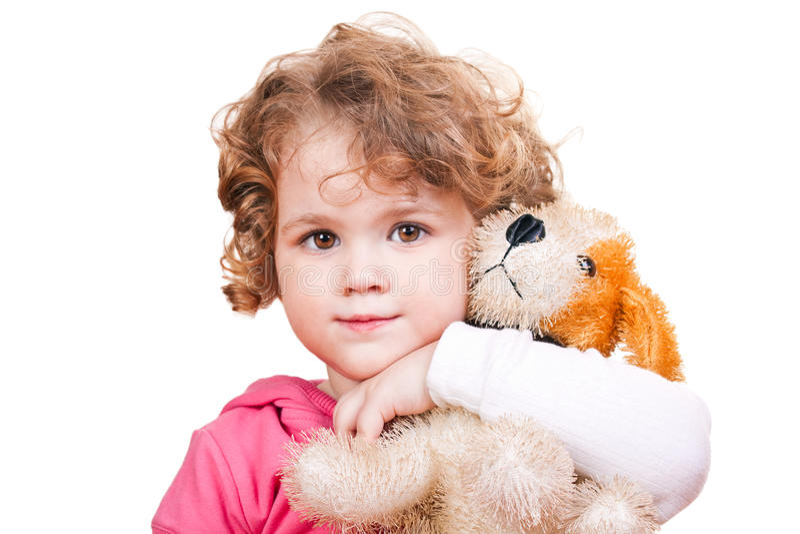 Meisje en haar stuk speelgoed royalty-vrije stock afbeeldingen