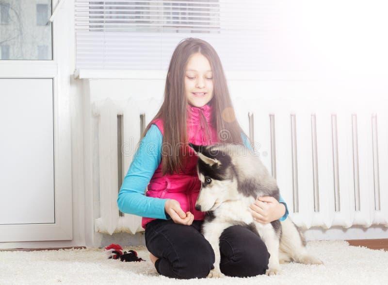 Meisje en Hond stock foto