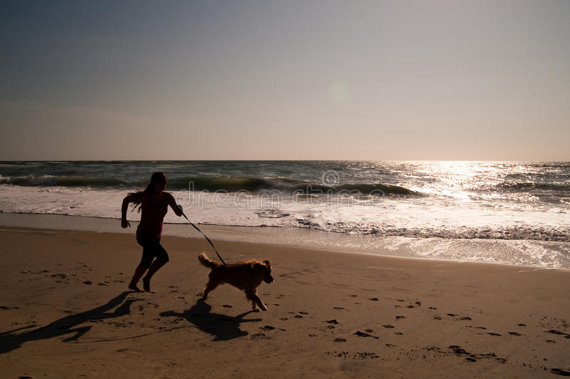 Meisje en hond die op strand lopen royalty-vrije stock afbeelding
