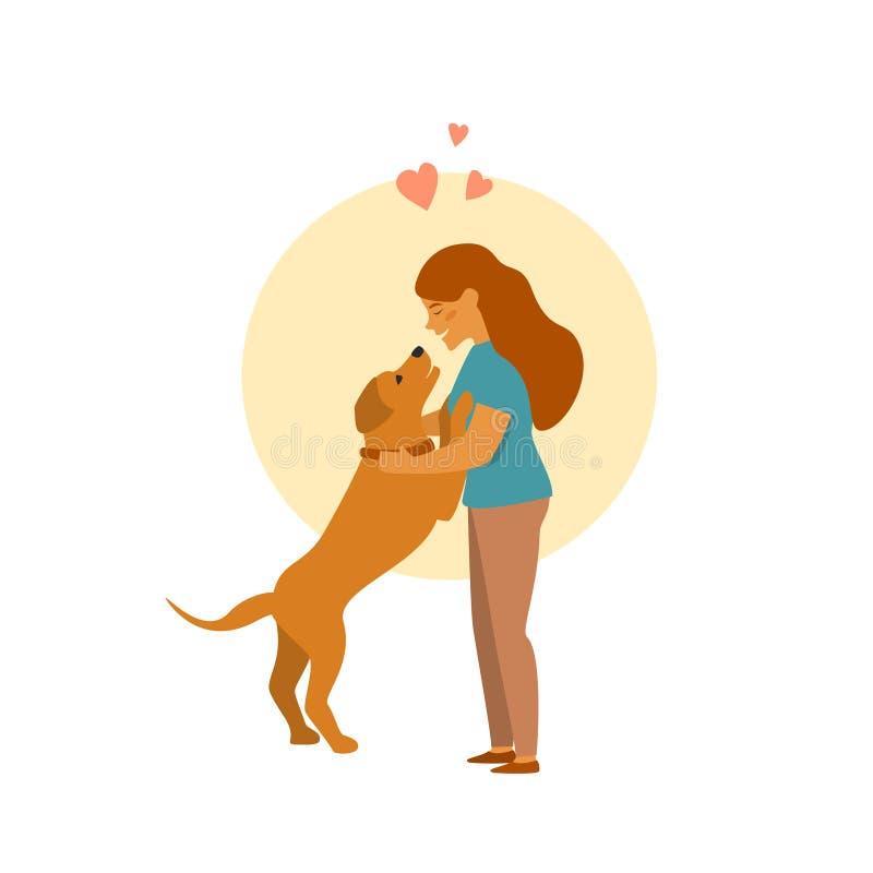 Meisje en hondvector van het omhelzings de leuke beeldverhaal vector illustratie