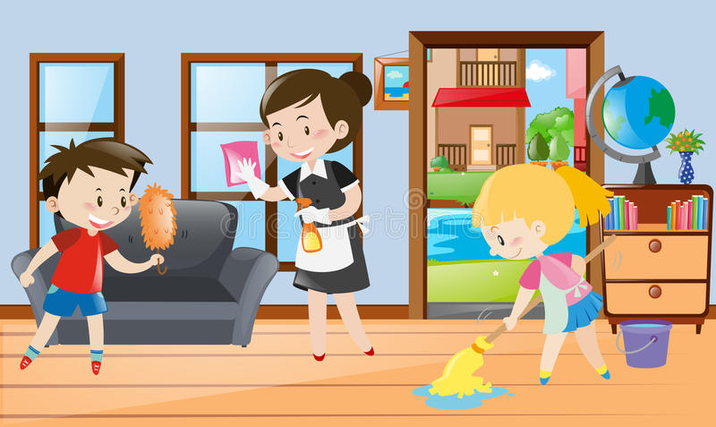 Meisje en jonge geitjes die de ruimte schoonmaken stock illustratie