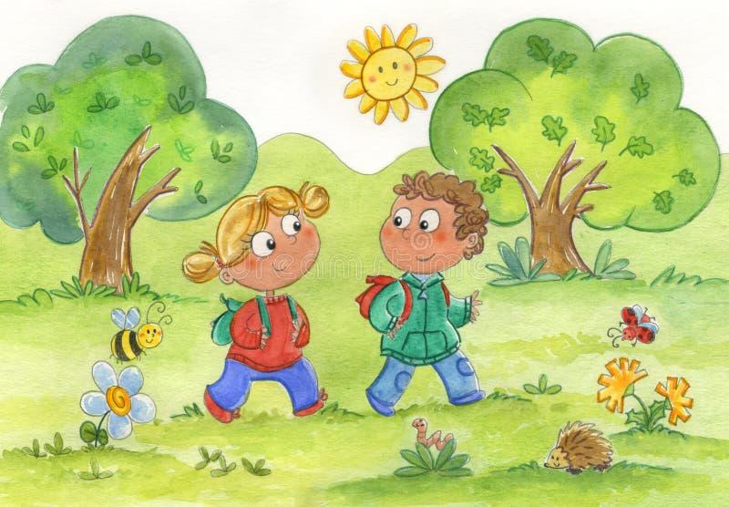 Meisje en jongen bij het park vector illustratie