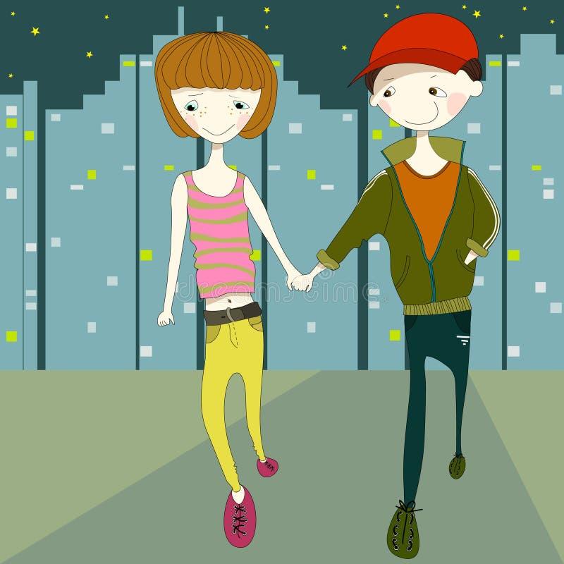 Meisje en jongen die in de stadsstraat bij naight lopen stock illustratie