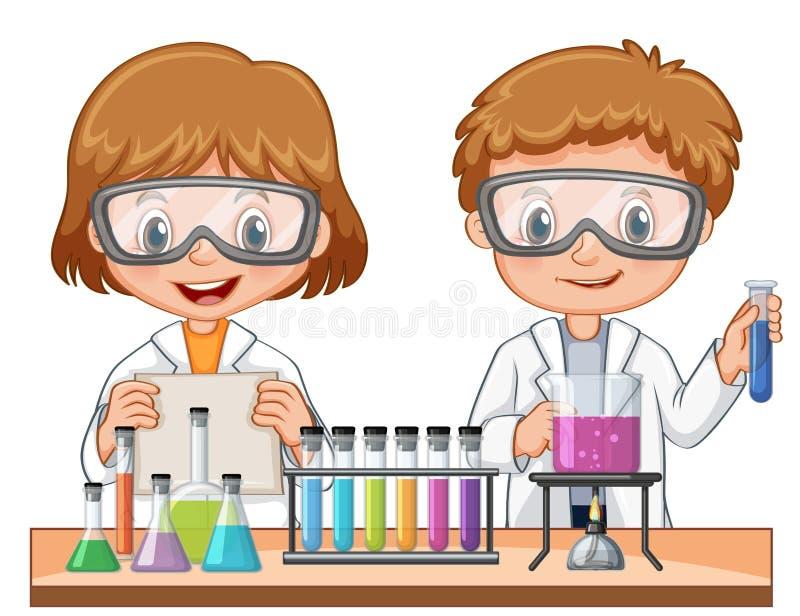 Meisje en jongen die wetenschapsexperiment doen vector illustratie