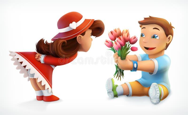 Meisje en jongen met boeket van bloemen vector illustratie