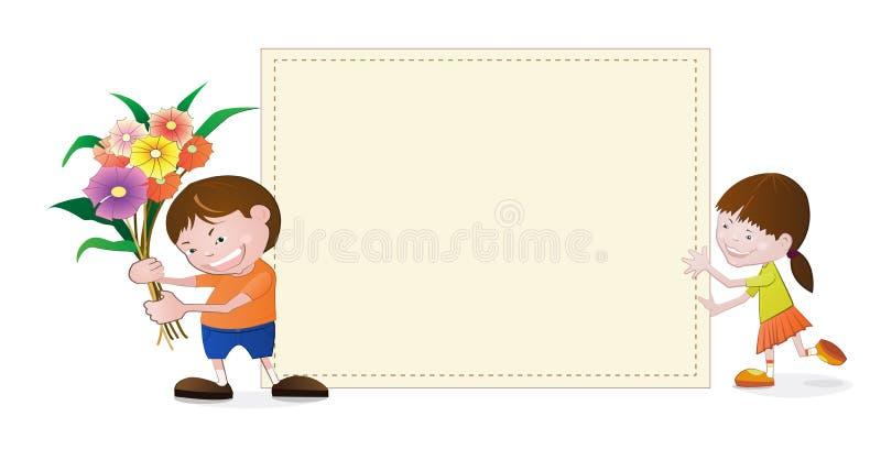 Meisje en jongen met leeg document royalty-vrije illustratie