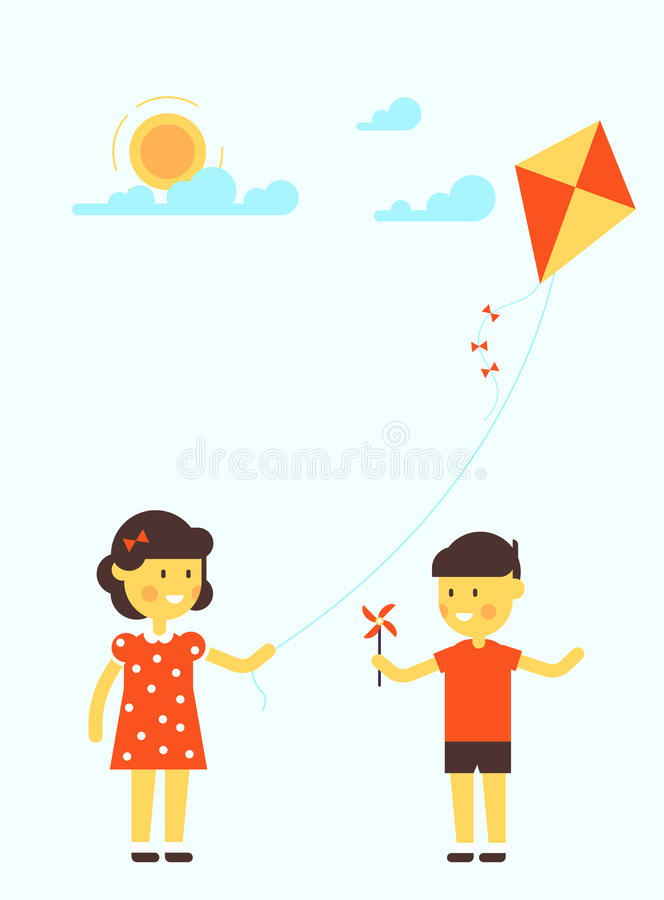 Meisje en jongen met vlieger vector illustratie