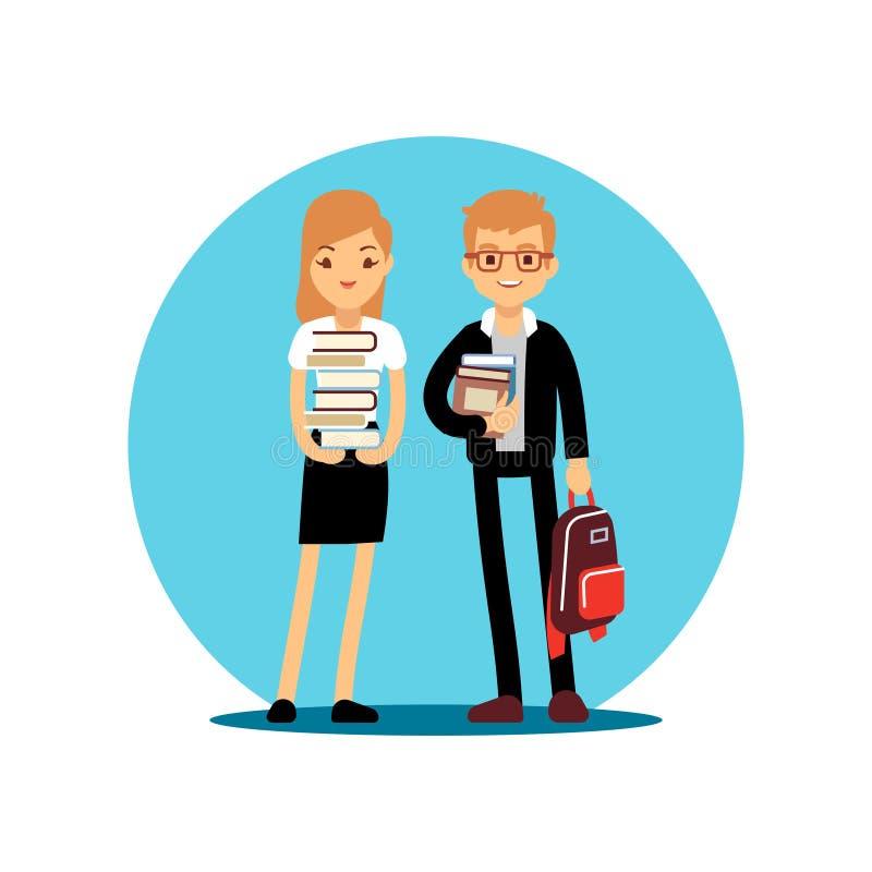 Meisje en jongens het karakter van het studentenbeeldverhaal Terug naar het vectorontwerp van schooljonge geitjes stock illustratie