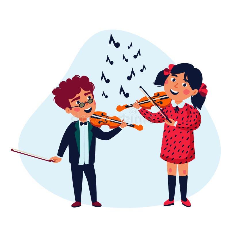 Meisje en jongensmusici Gelukkige kinderen die violen spelen Het overleg van de muziekschool Vlakke stijl vectorillustratie vector illustratie