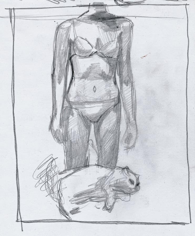 Meisje en kat 1 stock illustratie