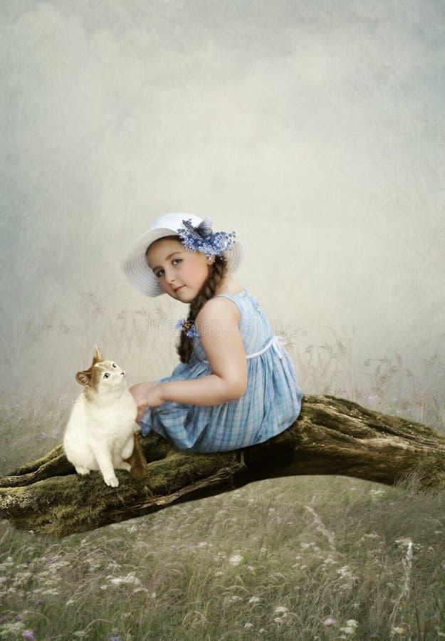 Meisje en kat royalty-vrije stock afbeeldingen
