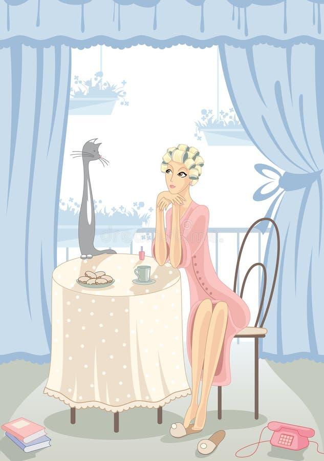 Meisje en kat thuis stock illustratie