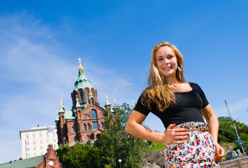 Meisje en Kathedraal Uspenski royalty-vrije stock afbeeldingen