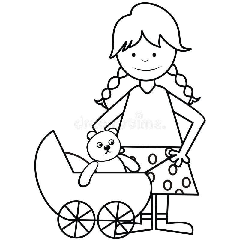 Meisje en kinderwagen - kleurend boek vector illustratie