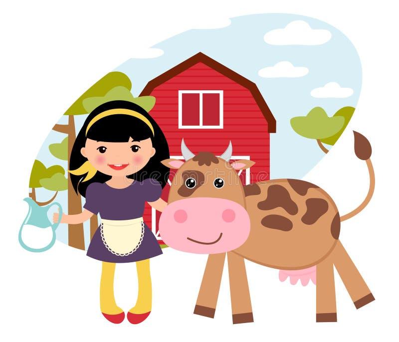 Meisje en koe bij landbouwbedrijf royalty-vrije illustratie