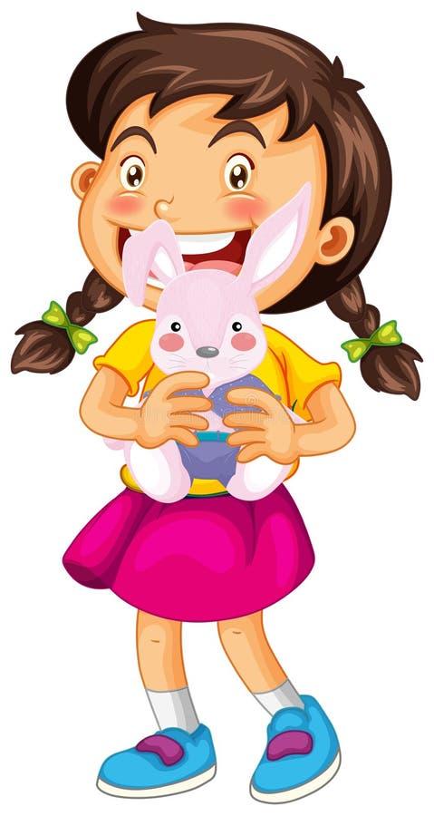 Meisje en konijnpop stock illustratie