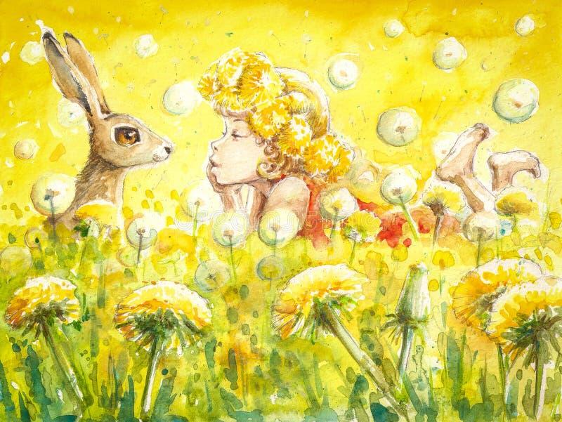 Meisje en konijntje royalty-vrije illustratie