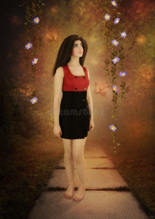 Meisje en magische bloemen royalty-vrije stock foto