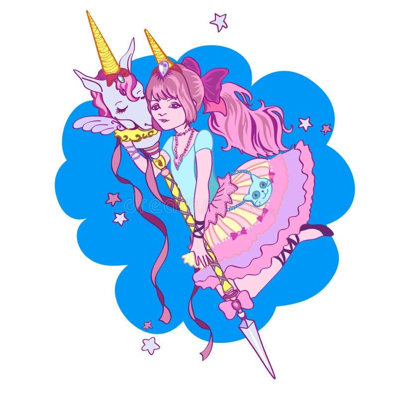 Meisje en Magische eenhoorn De kaart van de groet stock illustratie