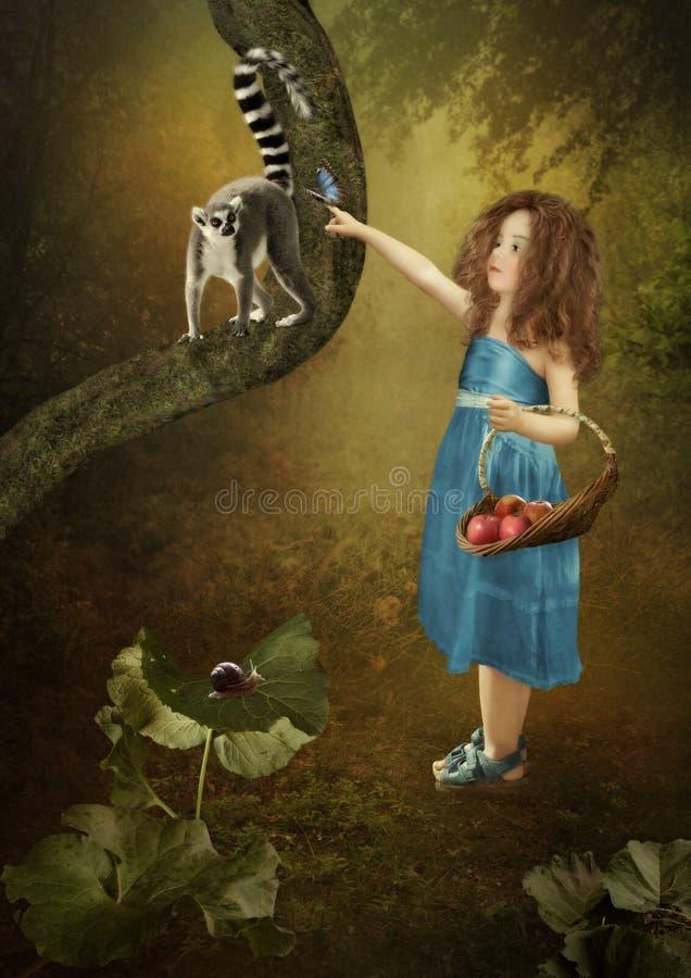 Meisje en maki stock fotografie