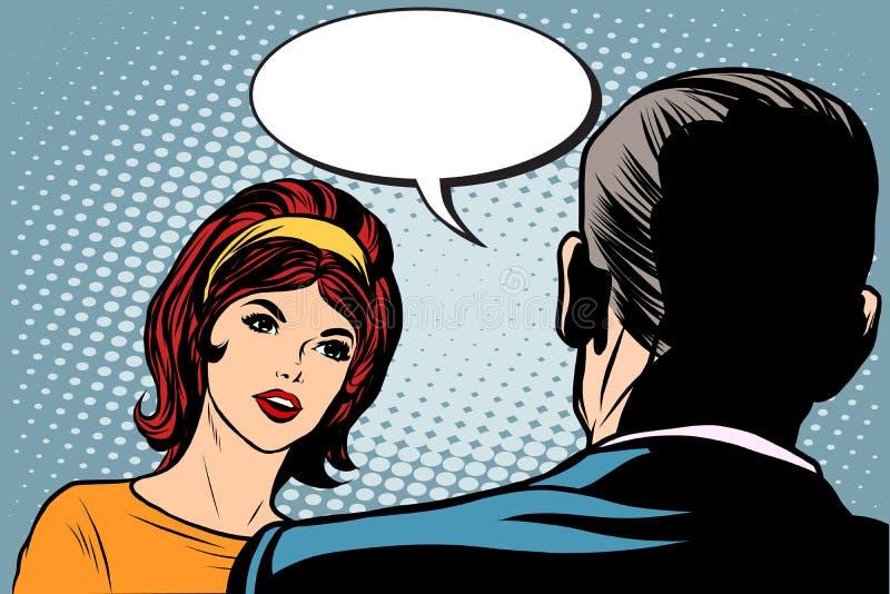 Meisje en mannelijke dialoog vector illustratie