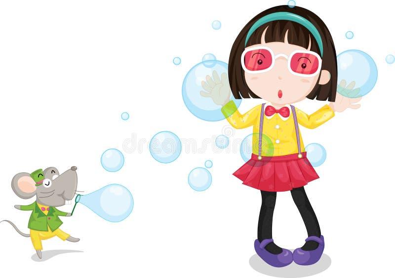 Meisje en muis vector illustratie