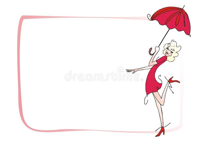Meisje en paraplu stock foto