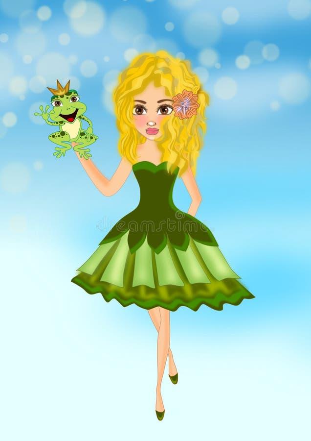 Meisje en prinskikker vector illustratie