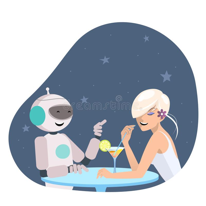 Meisje en robot praten in de bar vector illustratie